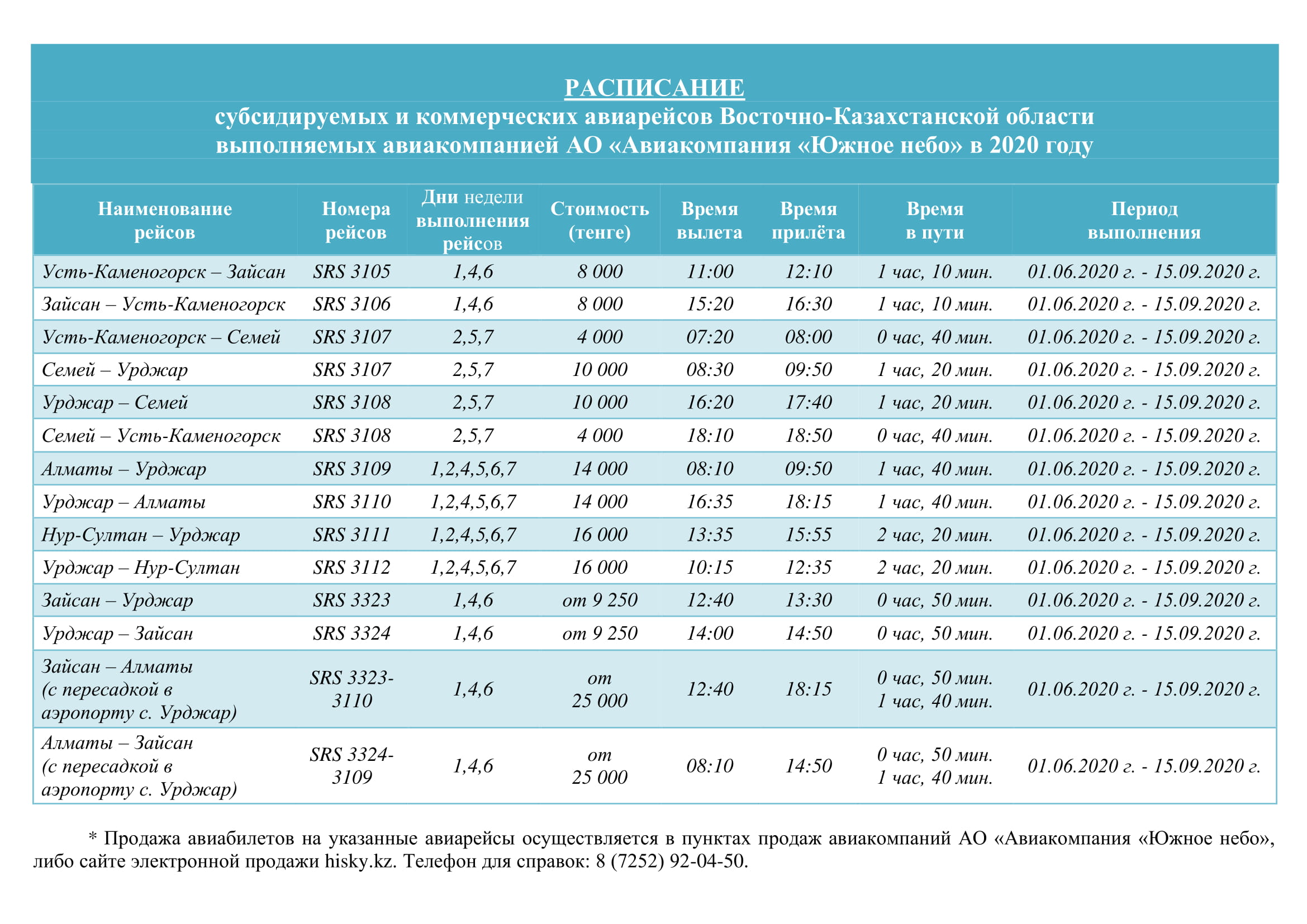 SCHEDULE of subsidized and commercial flights of the East Kazakhstan region